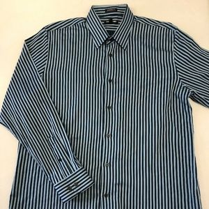 Express 1MX Mens Dress Shirt Blue Stripe XL